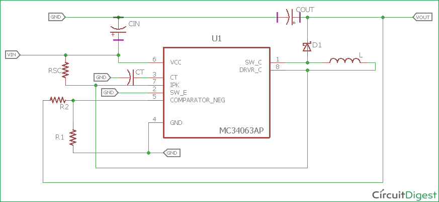 3 7V to 5V Boost Converter Circuit Diagram using MC34063