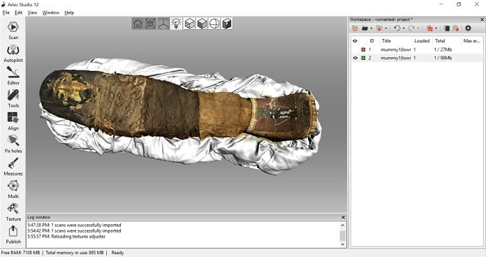 The 3D model of the Sherit mummy, created with Artec Eva 3D scanner, rendered in Artec Studio 12 software.