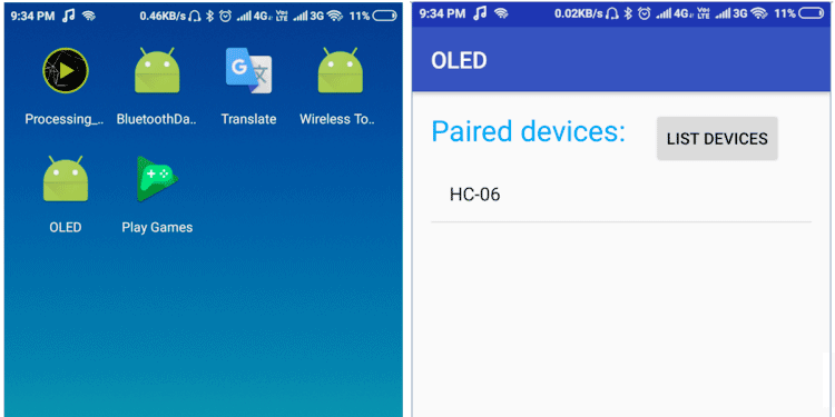 Android app for Interfacing OLED display with Android Phone