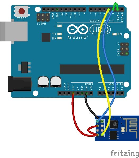 Arduino and Wifi module fritzing-circuit