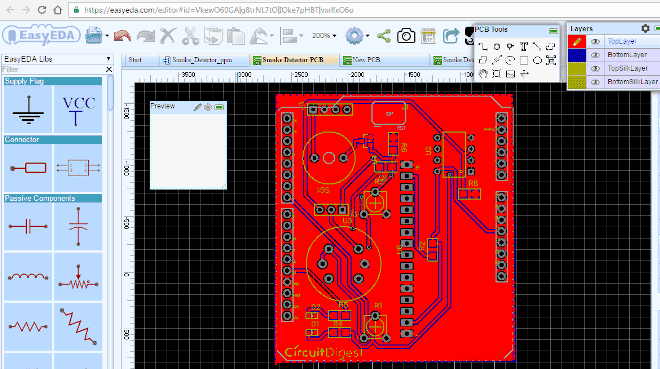 Arduino-smoke-detector-shield-PCB-layout