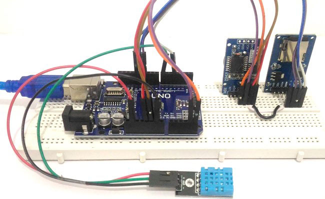 Arduino temperature time data logger to SD card using dht11