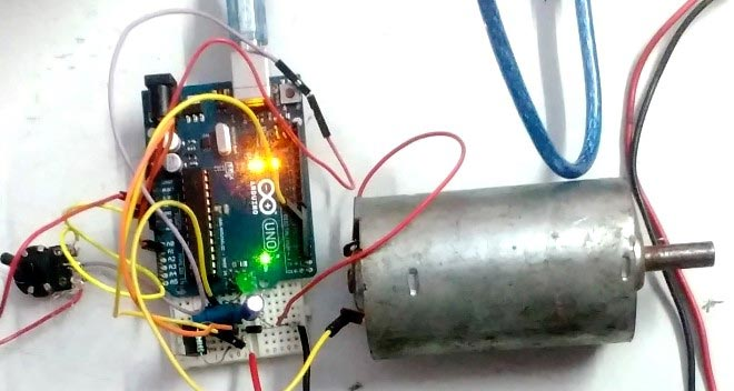 DC-DC Buck Converter circuit controlling speed of DC motor