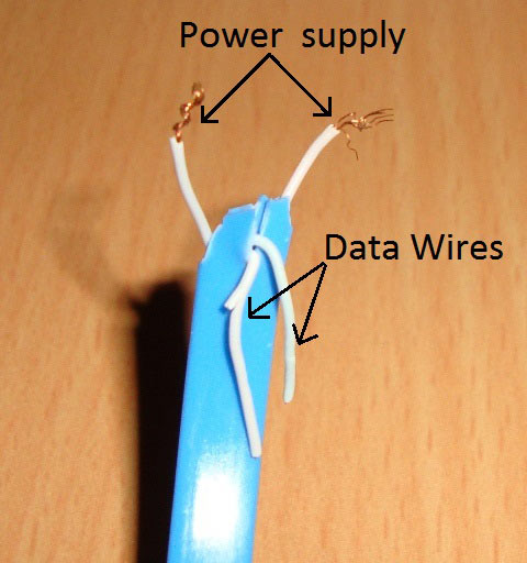 USB Power Wires in Cable