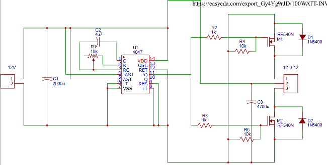 Design electronic circuits online for free with easyeda check its full working here 12v dc to 220v ac inverter circuit ccuart Choice Image