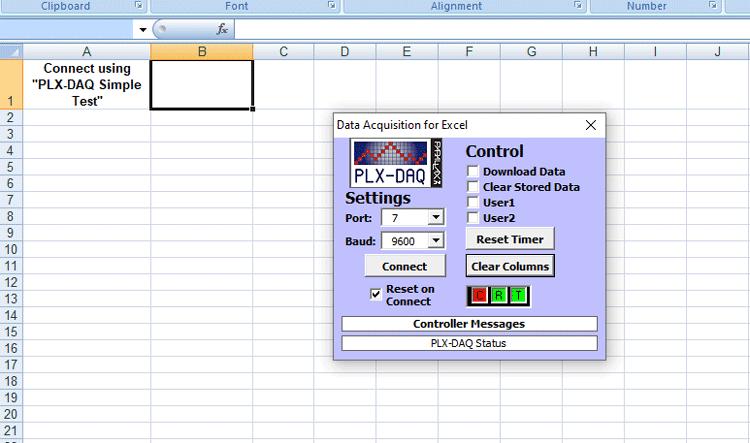 Excel Sheet PLX DAQ Setting