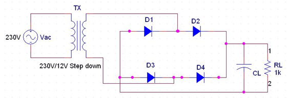 Full wave rectifier circuit diagram with filter
