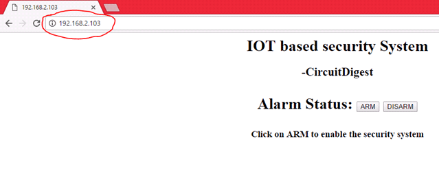 IoT security system web interface