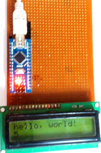 LCD-with-Arduino-nano-on-dot-board