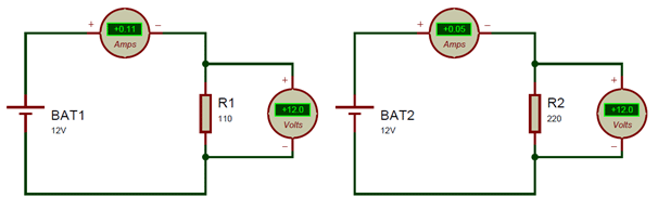 Ohms law calculation in circuits
