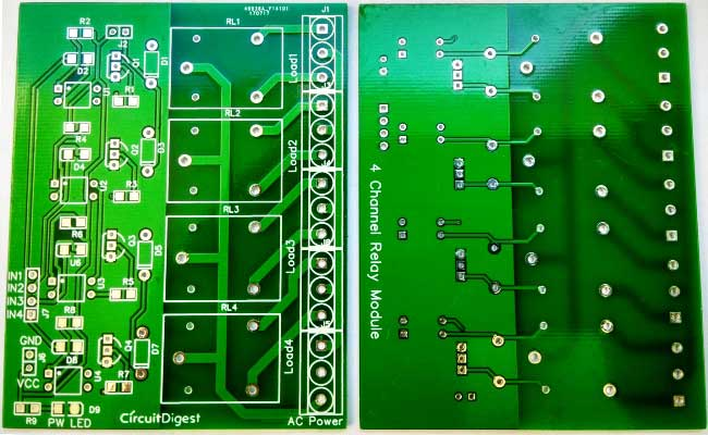 PCB samples of 4 channel relay driver module circuit