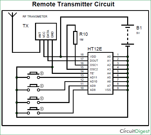 RF Transmitter and Receiver Circuit Diagram