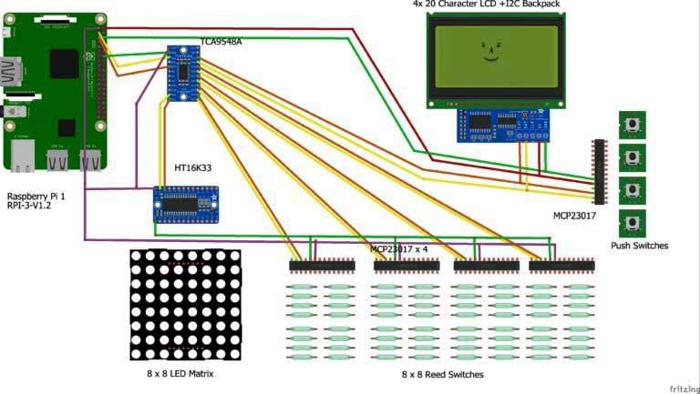 Raspberry pi computer chess board circuit