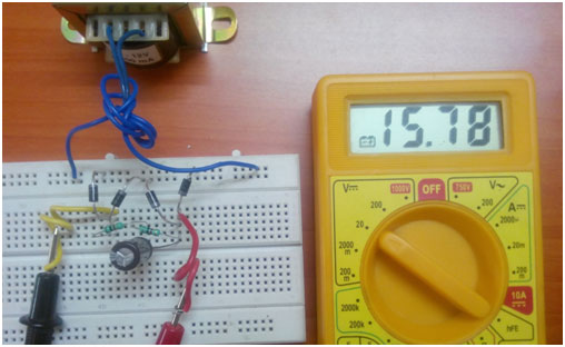 Full wave Rectifier Circuit on Breadboard with Filter 1