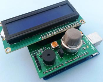 Smoke-detector-shield-over-Arduino-with-LCD