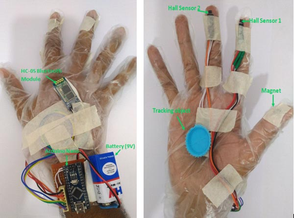Virtual Reality Gloves with Bluetooth and Hall Sensor