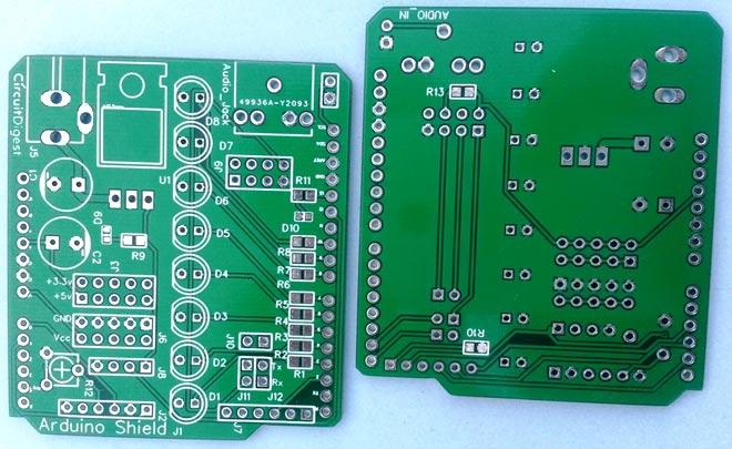 VU Meter Arduino shield PCBs