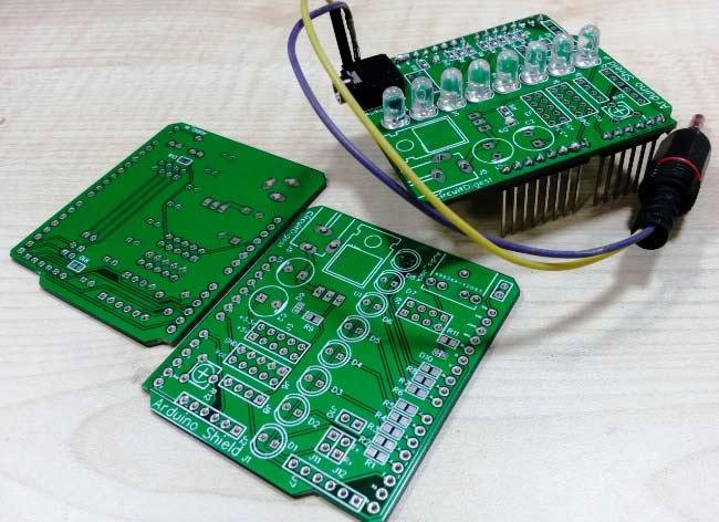 VU Meter Arduino shield with EasyEDA