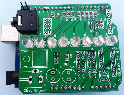 VU Meter Arduino shield working
