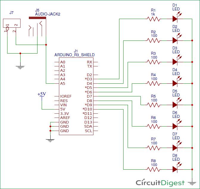 VU Meter with Arduino circuit diagram