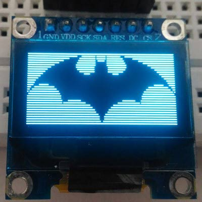 batman logo on Monochrome 7 pin SSD1306 0.96-OLED display