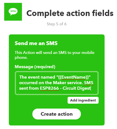 Create action for sending sms