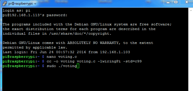 electronic voting machine raspberrypi ssh