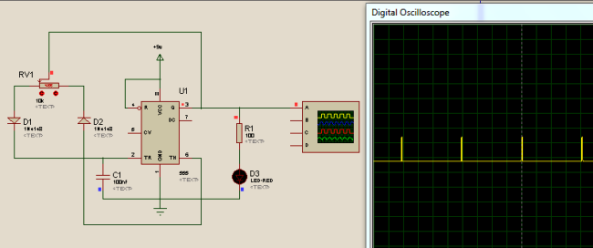generating PWM using 555 Timer IC simulation