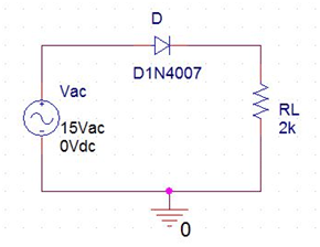 Half wave rectifier without filter