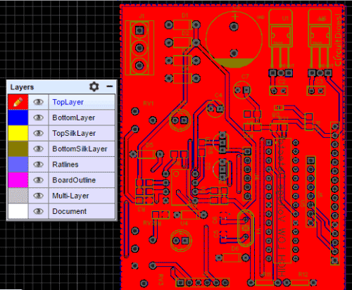high low voltage detector PCB using PIC microcontroller top view