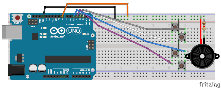 playing tones using Arduino tone function breadboard circuit