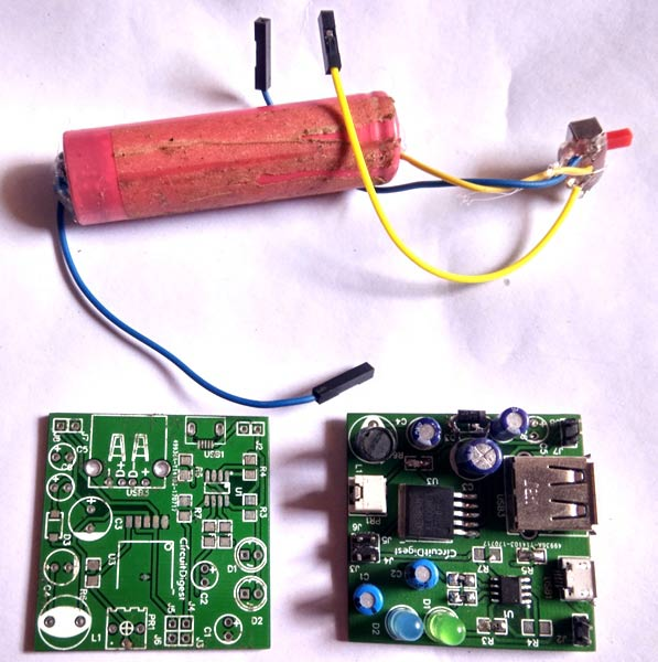 power bank pcb circuit for charging mobiles with lithium cell