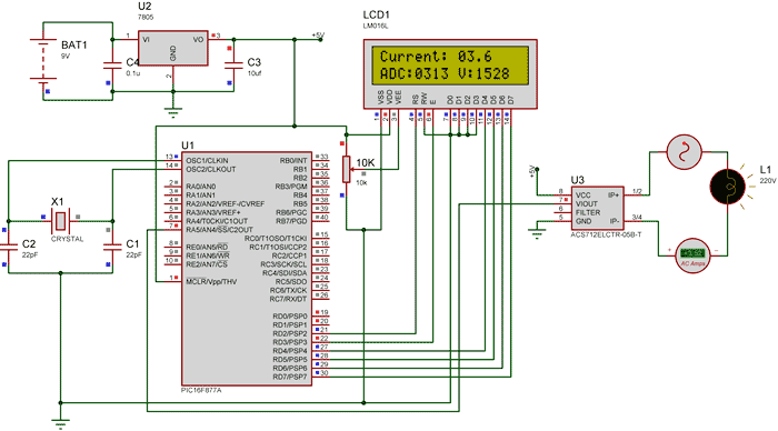 digital ammeter circuit using pic microcontroller and acs712 wiring adc ammeter #15