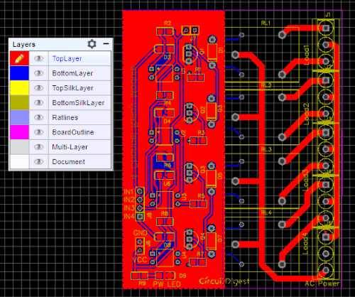 top layer of 4 channel relay driver module PCB