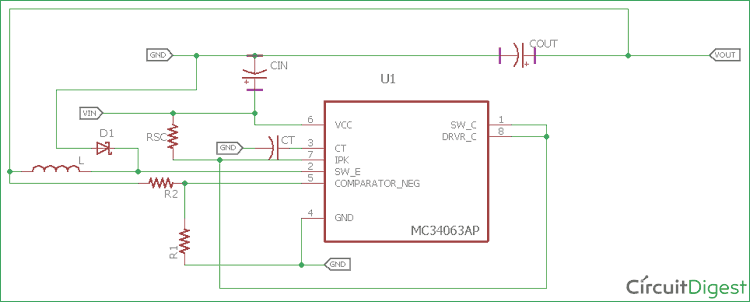 12V to 5V Buck Converter Circuit using MC34063