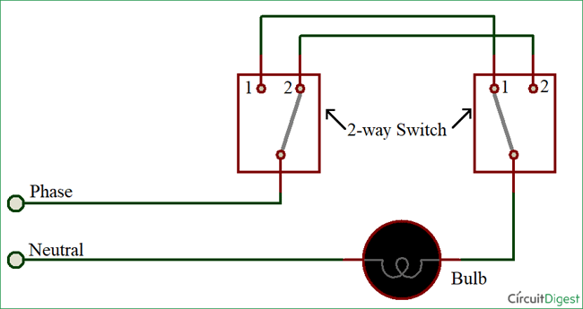 how to connect a 2 way switch with circuit diagram rh circuitdigest com 2 gang 2 way lighting circuit wiring diagram