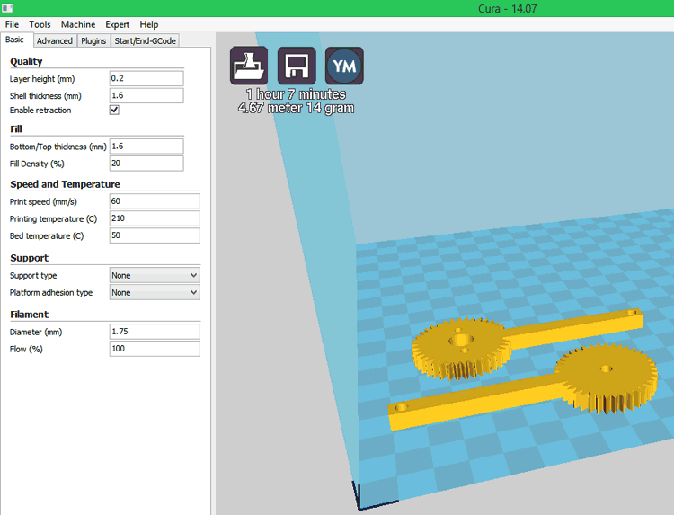 3D printing parts of Robotic arm using Cura