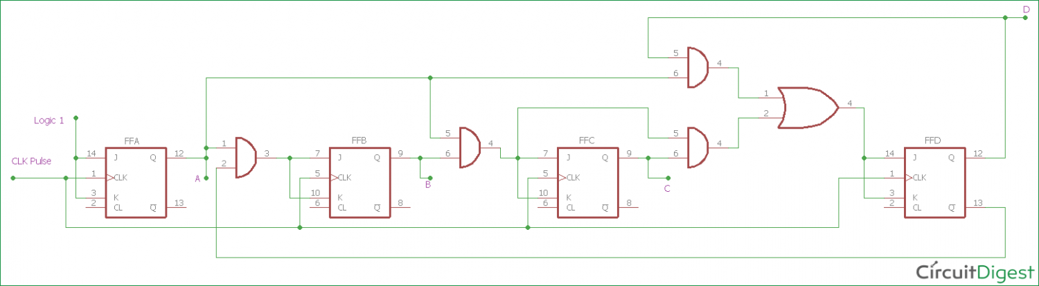 4-bit synchronous decade counter  above circuit