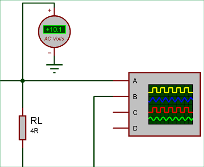 AC voltage at amplifier output