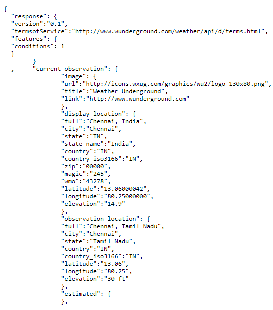 API returns the following JSON file