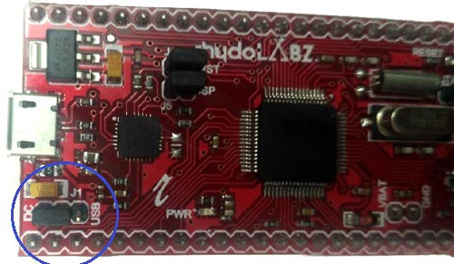 ARM7-LPC2148 Jumper in DC position