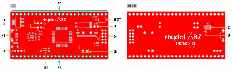ARM7 LPC2148 Top and Bottom View