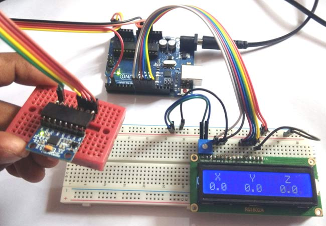 Accelerometer reading over LCD using MPU6050 with Arduino