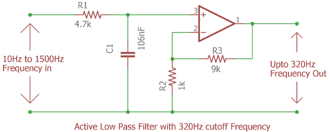 Active Low Pass Filter with 320Hz cutoff Frequency