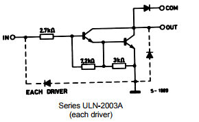 Actual Darlington array connection is shown for the each driver