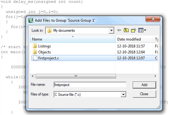 Add files to Source Group1