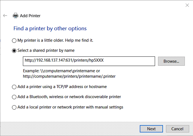 Adding printer to windows PC for Raspberry pi print server