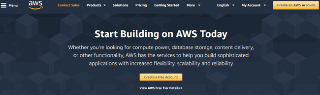 Amazon AWS website