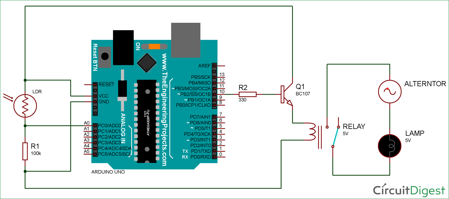 Arduino Light Sensor Circuit Using Ldr Control Relay Wiring Diagram And
