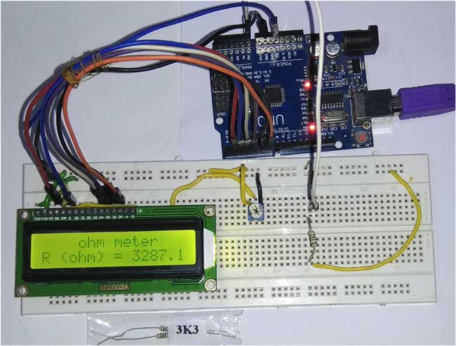 Arduino Ohm Meter in action